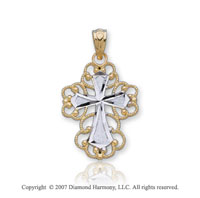14k Two Tone Gold Filigree Ornate Fashion Cross Pendant